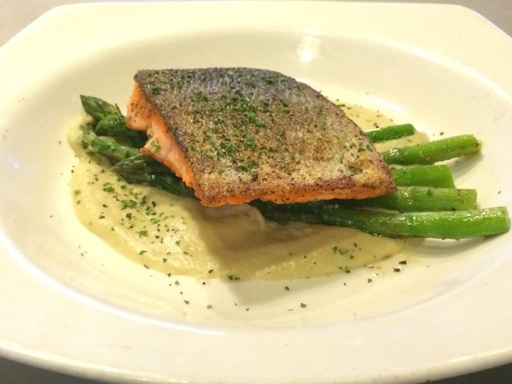 salmon and asparagus from the nerka and chuckanut brewery